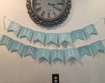 Snowflake Frozen Winter Wonderland Birthday Banner