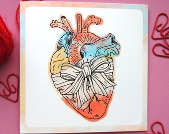 Anatomical heart illustrated anniversary card