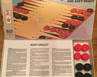 1973 Complete Bacgammon & Acey-Deucy Game by Milton Bradley No 4319