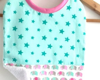 Girl bib, cotton fabric print elephants gray, green and pink and a fabric stars