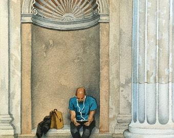 """Watercolor. """"Modern life in Rome"""". Italy. Original artwork."""