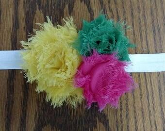 Pink, Yellow, and Green Triple Shabby Flower Headband - Choice Elastic - Custom Size