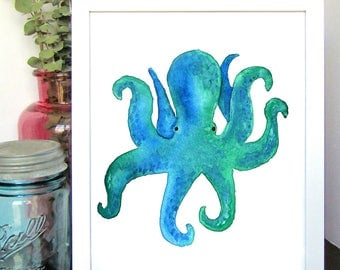 Octopus Watercolor Print - Sea Animal Print - Watercolor Art - Wall Decor - Nursery Wall Art - Kids Room Decor - Gift for Her - Gift for Him