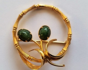 Vintage Kordes & Lichtenfels Gold Filled Pin Brooch with Jade