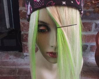 "10"" Platinum Blonde Over Lime Green Human Hair Extension Fringe/Bang/Bangs"