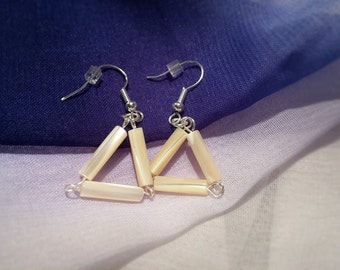 Simple Mother of Pearl Triangular Dangle Earrings