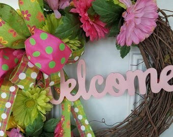 Grapevine Wreath, Spring Wreath, Pink and Green Wreath, Summer Wreath, Front door Wreath, Welcome Wreath, Grapevine, Spring decor