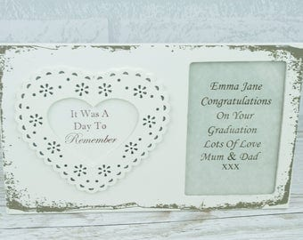 Photo Frame Wooden Personalised It Was A Day To Remember Lace Design F1503B/P