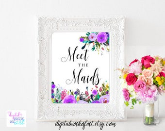 Meet the Maids Signs, Wedding, Bridesmaid Sign, Boho Wedding Sign, Floral Wedding Printable Sign, Meet the Bridesmaids Floral Boho