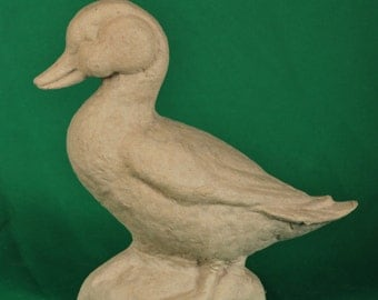 Paper Mache Standing Duck by BARE NAKED CRAFTS  Made in the U.S.A.