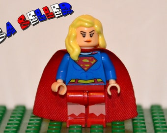 Supergirl Custom minifigure (Lego Compatible) DC Comics Justice League of America JLA Superhero Kara Zor-el Christmas Gift Stocking Stuffer
