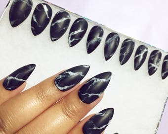 Black or White Stone Marble Press On Nails in Matte or Glossy finish