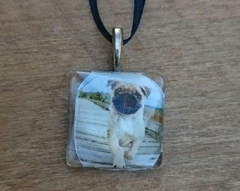 Handcrafted Glass Tile Pug Pendant necklace dog lover gift for her