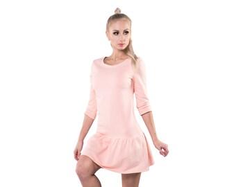 Womens cotton dress - Activewear peach dress - Womens short dress - Cotton mini dress - Sporty dress - Casual frilled dress - UM44-10