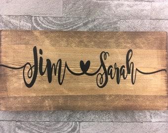 Wooden Sign personalised wood board valentines weddings anniversary