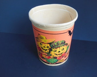 1950's Halloween Paper Cup, Vintage Jack O'Lantern Paper Cup, Country Jack O'Lantern Party Decoration, Unused, Beach Products Handi Handle,