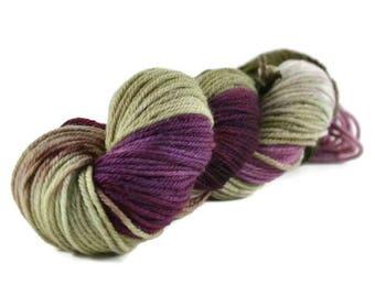 Worsted Yarn, Superwash Merino yarn, worsted weight yarn, wool yarn, 100% Superwash Merino, worsted wool, green, purple - Fairy Forest