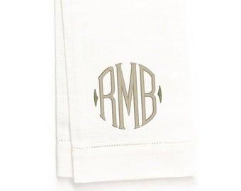 Detering Monogram Hand Towel, White Linen