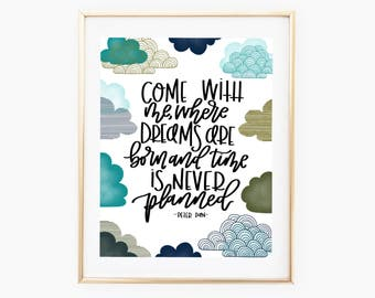 Peter Pan PRINT // Hand Lettering // Modern Calligraphy // 8x10, 11x14