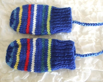 Hand Knitted blue and colourful stripey baby mittens with string. to fit approx 6-12 months. Warm Winter Mittens. Baby Boys Stripey Mittens