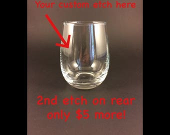 2 Custom Etched Stemless Wine Glass