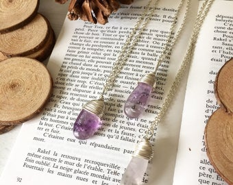 Silver Wire Wrapped 'Sophie' Amethyst Rough Polished Gemstone Crystal Pendant Necklace With Silver Chain, Perfect Gift For Her