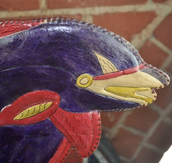Large Purple and Yellow  Dolphin Shaped Tooled Leather Purse