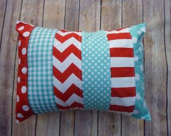 Aqua and Red Pillow, Striped Pillow, Nursery Decor, red, aqua, robbins egg blue, nautical, Chevron, Nursery Decor