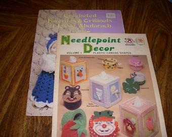 Vintage Crocheted Favorites & Originals of Jessie Abularach, Volume 3 and Vintage Needlepoint Decor, Plastic Canvas Shapes, Volume 1