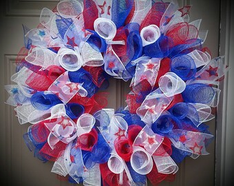 Fourth of July Fun - red, white & blue deco mesh wreath