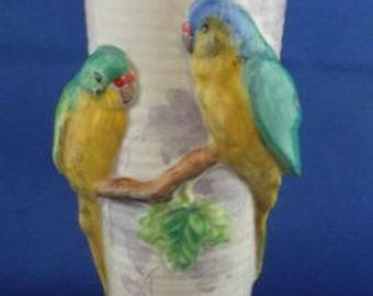 Clarice Cliff vase decorated budgerigars, the base with Clarice Cliff mark  height =8 inches