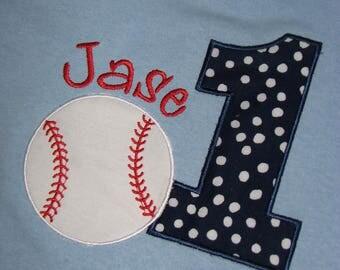 First Birthday Baseball Shirt. Personalized Birthday Shirt. Kids Applique Birthday Top. Navy Polka Dots.