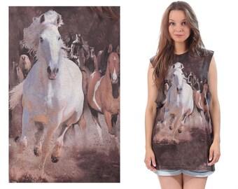 Horse Shirt 90s Cut Off Tank Top Festival Tee Shirt Baggy Brown White Beige Low Armhole Tee Sports Shirt Men Women Unisex Cotton Large XL