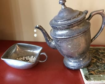Rustic Silver Teapot Pouring Pearls BONUS:  FREE PLANT for every 25 spent until Oct 5