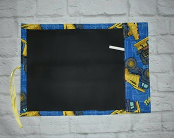 Chalkboard drawing mats, travel chalk mat, chalk board coloring mat, construction trucks