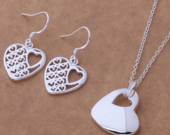 Sterling Silver Heart Necklace and Earrings
