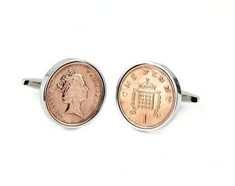 Polished UK Decimal One Penny 1p Coin Cufflinks, Birthday Keepsake Gift, Retirement Gift, Father Day gift (1971 till Present)