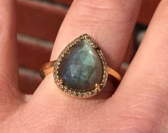 Gold Labradorite Ring with Diamond Accents