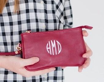 Monogrammed Wristlets, monogram wristlet, Garnet Mini Wristlet, Wristlet Purse,  monogrammed gift, gift for her, gift for girls