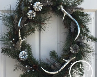 Antler Wreath, Wildlife Wreath, Silver Wreath, Wreath Street Floral, Door Wreath, Northwoods Wreath, Evergreen Wreath, Wreath