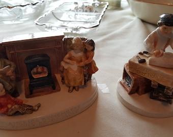 Vintage Set of 2 Sebastian Miniatures - Shipbuilder and America Remembers Family Reading Aloud