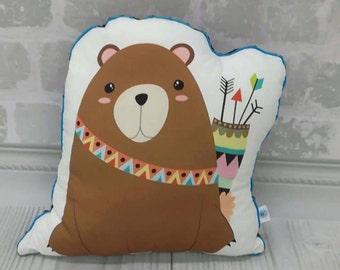 Bear Pillow, Stuffed Animal Pillow, Children Pillow, Cushion, Décor, Nursery, Baby Gift, Kids Room, Nap Pillow, Mid Century Modern