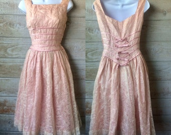 1950s Pink Party DRESS / Vintage 50s Chiffon Shelf Bust Debutante Prom Frock / Minx Modes Metallic Floral Embroidery Rockabilly Pinup xs s
