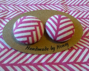 Pink Roads/Fabric Button Covered Earrings/Nickel Free