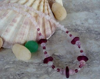 Creamy Pink and Plum Seaglass