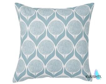 LARGE Blue Throw Pillow- 24x24 Pillow- Light Blue Pillow- Scandinavian Pillow- Light Blue Cushion- Floral Pillow- 24x24 Cushion- Blue