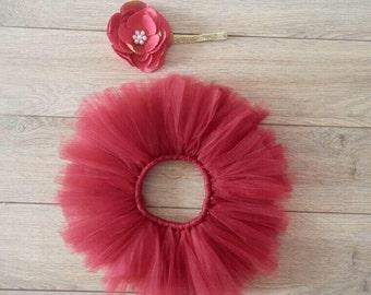 Red newborn tutu with matching headband, baby shower, baby gift, photography prop