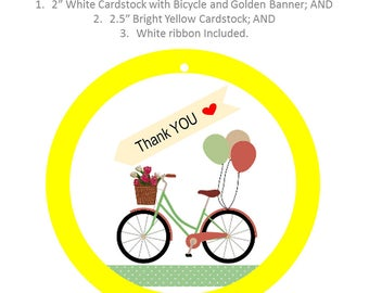 Thank-YOU Tag with a Thank-YOU Golden Banner and a Bicycle