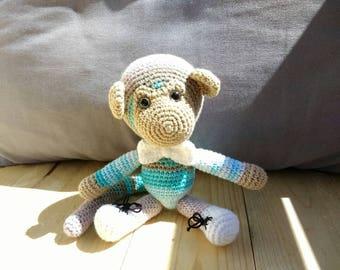 handmade toy monkey, crochet toy, 21 cm monkey, children gift,