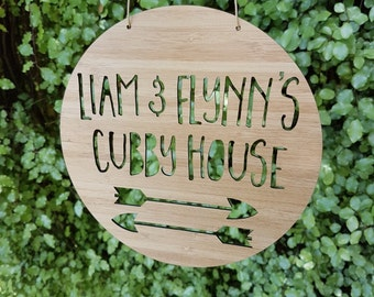 Personalised Wooden Cubby House Sign-Arrow-19.5cm-tree house-wall art-wooden sign-custom name-personalised gift-kids gift-lasercut
